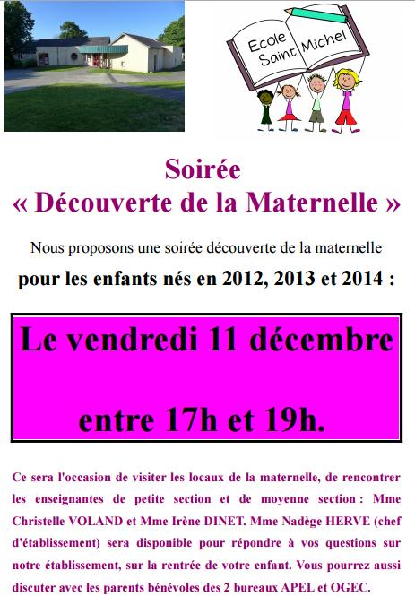 Portes Ouvertes de la Maternelle à l'école St Michel à Guipry