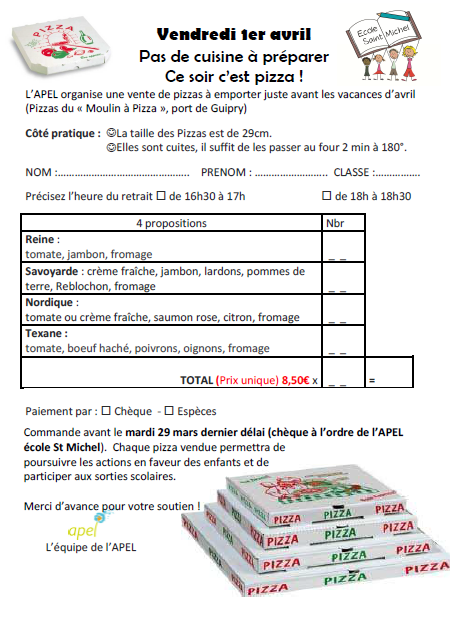 vente de pizzas le 1er avril 2016
