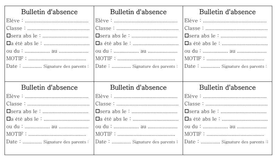 bulletin absence