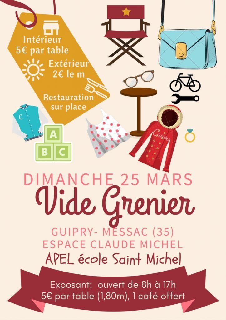 Affiche Vide Grenier Guipry Messac 25 mars 2018