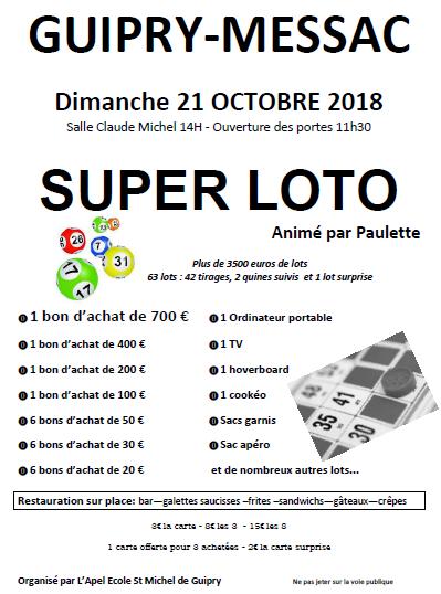 Loto 21 octobre 2018 Guipry Messac