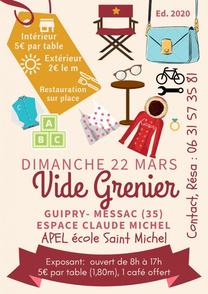 Affiche Vide Grenier à l'espace CLaude Michel Guipry Messac le 22 mars 2020